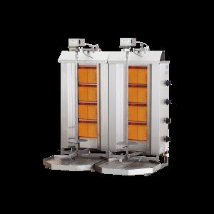 Aparat kebap shaorma corp dublu 4+4 arzatoare si motor sus MELTEM model MD-4T gaz