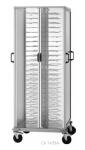 Carucior neutru pentru transport farfurii montate, 88 farfurii Q25/31cm, brațe albe, 75x78x183cm