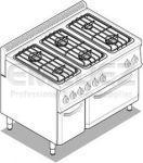 Aragaz cu 6 ochiuri modular cu cuptor electric +dulap GN 2/1 105x70x85