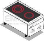 Plita electrica de banc 2 ochiuri cu placa vitroceramica  40x90x28