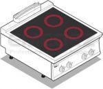 Plita electrica de banc 4 ochiuri cu placa vitroceramica  80x90x28
